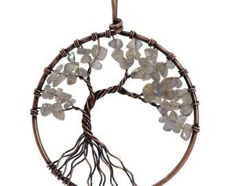 50mm Labradorite Vintage Style Tree Of Life Handmade Natural Gemstone Pendant
