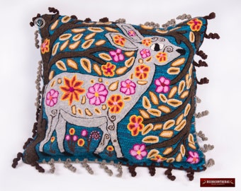 "Alpaca pillow covers 18x18"", Animal Deer Pillow, Peruvian Accent pillow, Embroidered Blue Pillow, Decorative throw pillowcase, Peru Textiles"