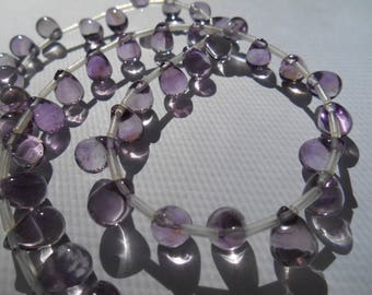 Gemstone Bead,Amethyst, Large, Brios,Smooth Briolette Pears, Top Drilled 10x7mm priced per pair
