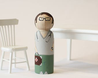 Doctor, Peg Doll, Wooden Toy, Medical Man, Dollhouse Miniature