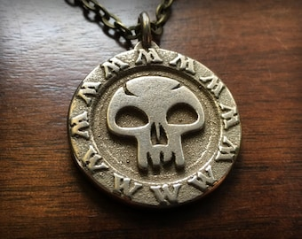 Magic The Gathering Black Mana Stainless Steel 3D Printed Pendant and Keychain