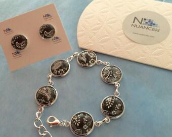KIT delicate bracelet/ earring BLACK &WHITE
