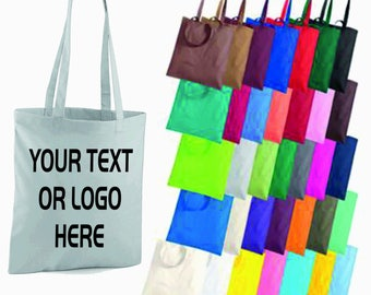 Personalised Custom Text Logo Printed Tote Bag Shopper Grocery Shopping Handbag Secret Santa Xmas Gift Tumblr Pintrest