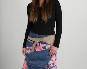 Reversible Pink Horses Corduroy Blue Denim Cotton Skirt Brown Corduroy Belt with detachable Pocket Long Length