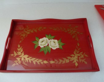 Vintage Wood Handpainted Tray with Glass Top Insert