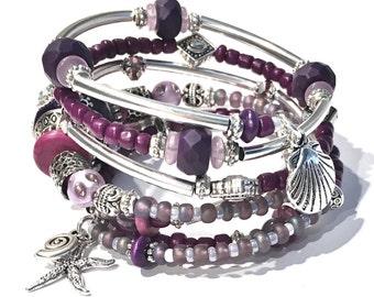 Purple Bracelet Women Purple Wrap Bracelet Beach Bracelet Wrap Purple Boho Beach Bracelet Beach Jewelry Starfish Charm Bracelet Gift for Her