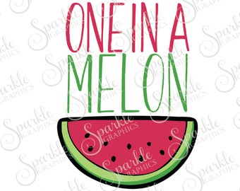 One In A Melon Summer SVG Summer Melon Watermelon Melon Baby SVG  Clipart Svg Dxf Eps Png Silhouette Cricut Cut File Commercial Use