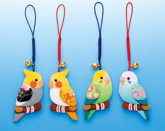 DIY Japanese Folk Art Mobile Strap Fabric kit  Can make 4 Parrots --- Japanese Craft Kit (Just use glue to make it) 4705695