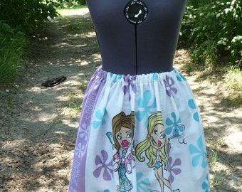 Doll Theme Skirt, Handmade Skirt, Unique Clothing, Lightweight Skirt, Recycled Fabric, Misses Skirt, Elastic Waist Skirt, Whimsical Skirt