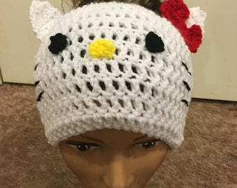 Hello kitty Messy bun beanieMessy bun beanie Ponytail beanie hello kitty messy bun hat