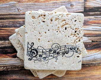 Music Notes Coasters, Stone Coasters, Music Teacher gift, Musician, Music Lover Enthusiast Gift, Pianist Gift, Band Teacher Gift, Music Gift