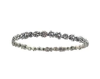 Flower Bracelet    garland silver gold sterling bangle