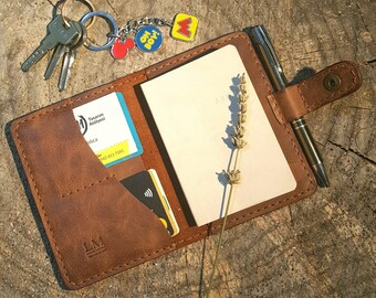 Handcrafted Leather Notebookcase & Passcase 2 in1