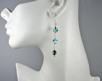 Abalone and Sterling Trio Disk Earrings - Paua Shell