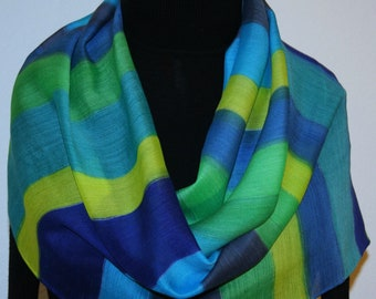 Blue Yellow Green Silk-Wool Scarf RIVER WALK. Warm Silk-Wool Scarf by Silk Scarves Colorado, Select Your SIZE!  Birthday Gift Handmade Scarf
