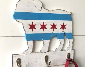 Chicago Bulldog Hook Chicago English Bulldog Leash Hook Chicago Dog Leash Hook Chicago Flag Dog Leash Holder Chicago Lover