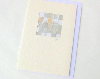 Card woven silver mini picture blank