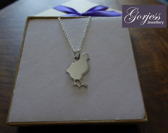 Silver Chick Pendant Necklace
