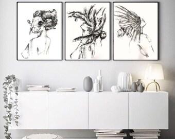A4/ A3 Goddess Trio Prints / Feminist Prints/Chic Wall Art Print/Goddess Print/Bedroom Wall Decor/Fashion Poster/Lingerie Prints