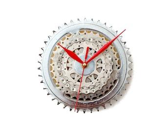 Steampunk Wall Clock, Bicycle Wall Clock, Silver Modern Wall Clock, Industrial Wall Clock, Large Wall Clock, Bike Wall Clock, Big Wall Clock
