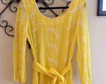 Long yellow vintage floral eyelet dress