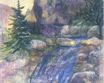 Fine Art Watercolor Reproduction Image Showing Rocky Mtn National Park Landscape Of Mountains, Trees, Waterfalls,Rocks,Snow Janet Dosenberry