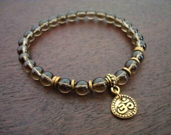 Smoky Quartz Shakti Mala Bracelet // Balancing Smoky Quartz & Gold Om Mala Bracelet // Yoga, Buddhist, Prayer Beads, Jewelry