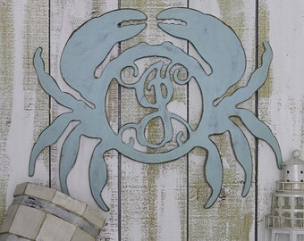 "23"" Unfinished Monogram Crab Wreath or Door Hanger! Perfect for Summer, the Lake or Beach!"