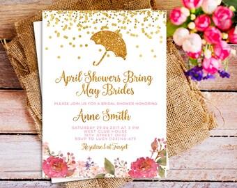 April Bridal Shower invitation, umbrella bridal shower invitation, April showers bring May flower Invitation, spring floral bridal shower