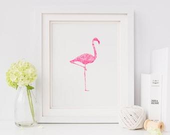 Neon Flamingo A3 Screen Print