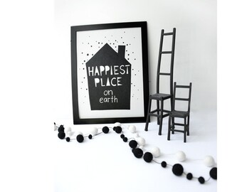 HAPPIEST Art Print Illustration BLACK < A3 > Nursery decor, Kids Art Print, Kids Room decor, Baby, Wall Art, Poster, Boys Room Decor