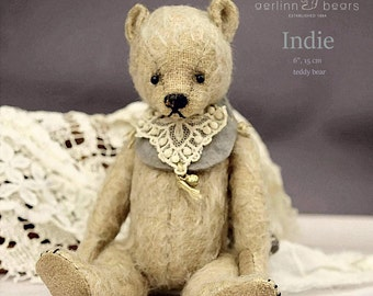 "Indie, 6"" PDF Artist Teddy Bear Pattern by Aerlinn Bears"