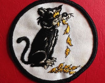 Vintage CAT Patch 60s 70s Sew On