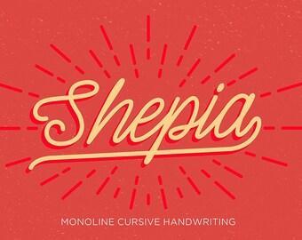 Shepia Script, Classic Font, Monoline Font, Cursive Font, Vintage Font, Handwritten Font, Digital Font Download