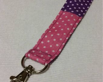 Pink & Purple Polka Dot Keychain