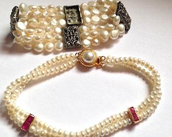 Flash Sale- Set of Two Genuine Pearl Bracelets- Red Garnet or Ruby Stone & Stretch Bracelet