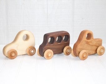 Organic Wood Toy Vehicle Set of 3/ Wood Car, Truck, Bus/ Waldorf/ Eco-friendly/ Baby/ Toddler/ Natural Toy/ Gift