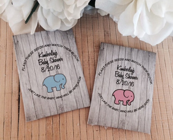 Baby Shower Party Favors Elephant ~ Baby shower seed packets elephant baby shower favors pink