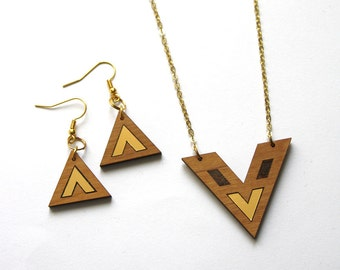 Jewelry set adornment, wood triangle earings, geometric necklace, chevron gold color, minimal modern jewel, woman gift, Made in France Paris