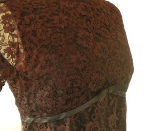 Copper tone lace dress from the 50s or 60s