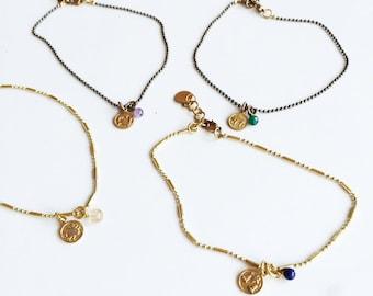 Gold Brass Zodiac Anklet