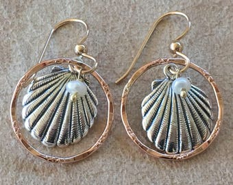 Sterling silver sea shell earrings with 14K rose gold filled textured rings and freshwater pearls. Free spirit, beach, mixed metals.