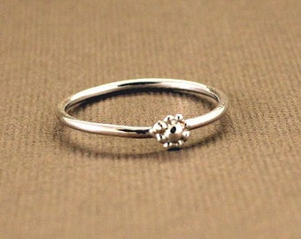 Teeny Tiny Flower Ring sterling silver stacking band