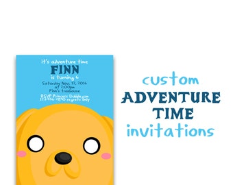 Adventure Time Invitation, Custom Adventure Time Birthday Invites, Finn the Human, Jake the dog party, 5x7 Printable Invitations.