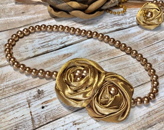 Bronze Pearl Necklace, Baby Girl, Fabric Flower Rosette, Vintage Gold, First Birthday Outfit Photo Prop, Wedding Jewelry Shower Gift Newborn