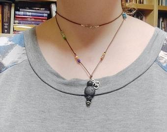 Om lava rock aromatherapy necklace