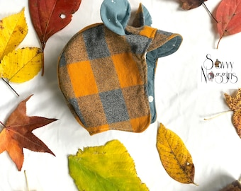 Reversible Boy Bonnet/Cap: Flannel & Cotton, Warm, Soft, + Trendy!  Mustard Plaid and Blue Skies