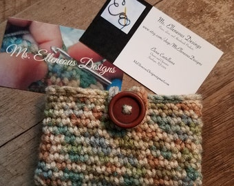 Mother Earth Crocheted Business Card Holder with Button Closure, Crocheted Credit Card Holder, Small bag