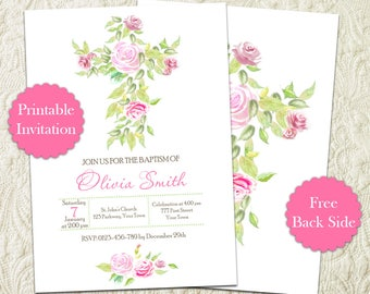 Simple Roses Floral Cross Girl Baptism Invitation, Floral Cross Christening Invite, Simple Floral Cross First Holy Communion Invitation