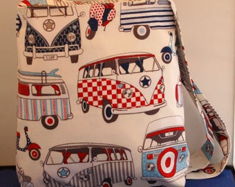 Vw Camper Shoulder Bag Large Hipster Bag Handmade Blue & Red